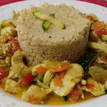 CUSCUS DE POLLO Y VERDURA AL CURRY (con Thermomix)