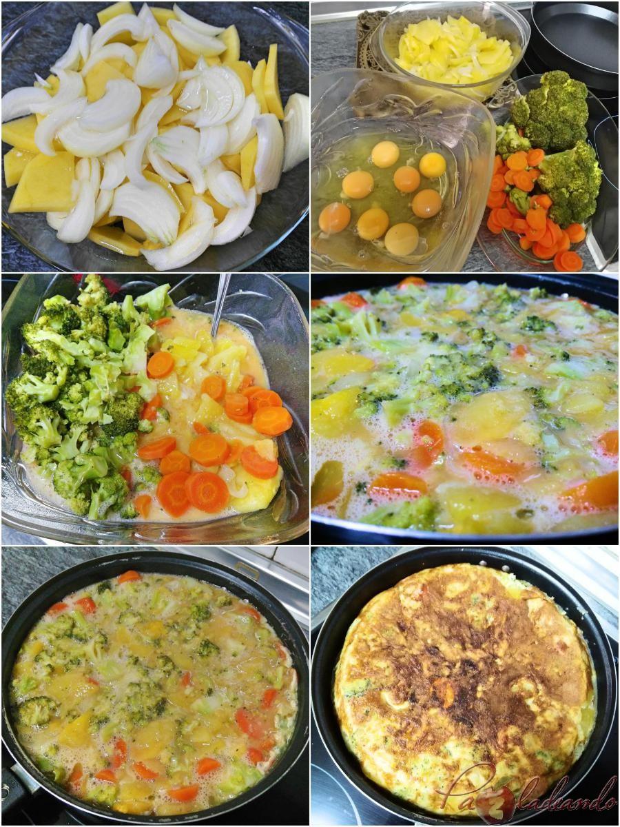 tortilla de patata y brócoli pasos