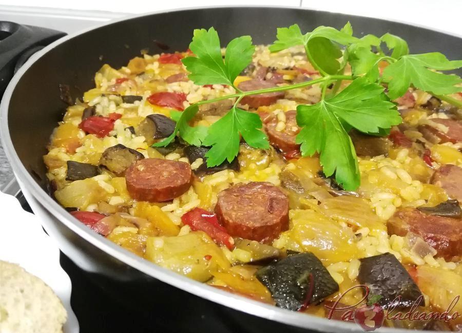 Paella de chorizo Pazladeando 4