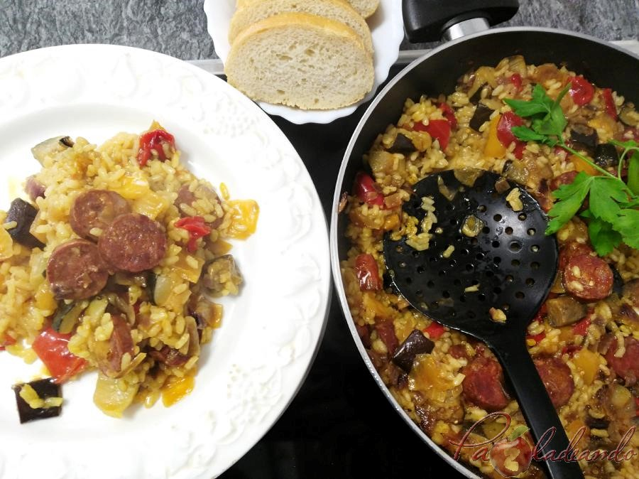 Paella de chorizo Pazladeando 5