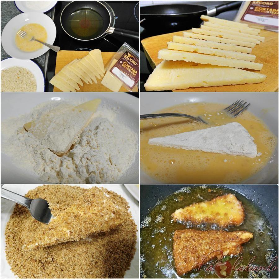 Paso a Paso Triángulos de queso curado frito