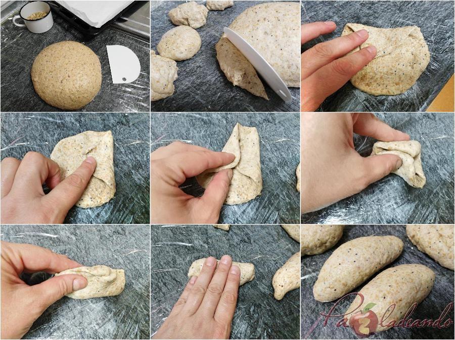 Dando forma a los Panecillos de espelta integral con semillas