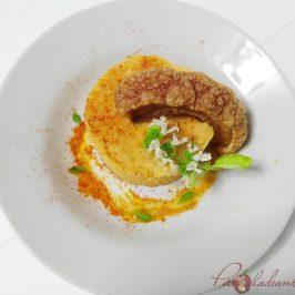 Parmentier de patata al pimentón y albahaca con torrezno de soria Pazladeando (2)