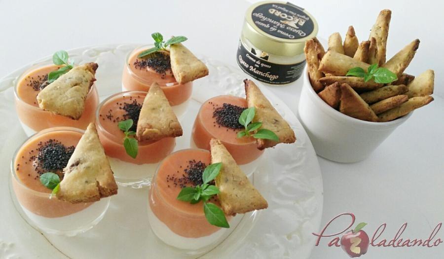 chupitos de crema de queso curado con salmorejo y sable crujiente de anchoa (5)