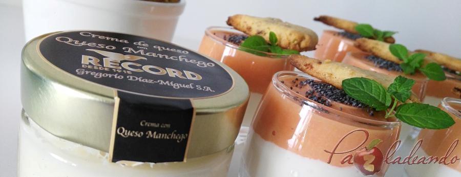 chupitos de crema de queso curado con salmorejo y sable crujiente de anchoa (7)