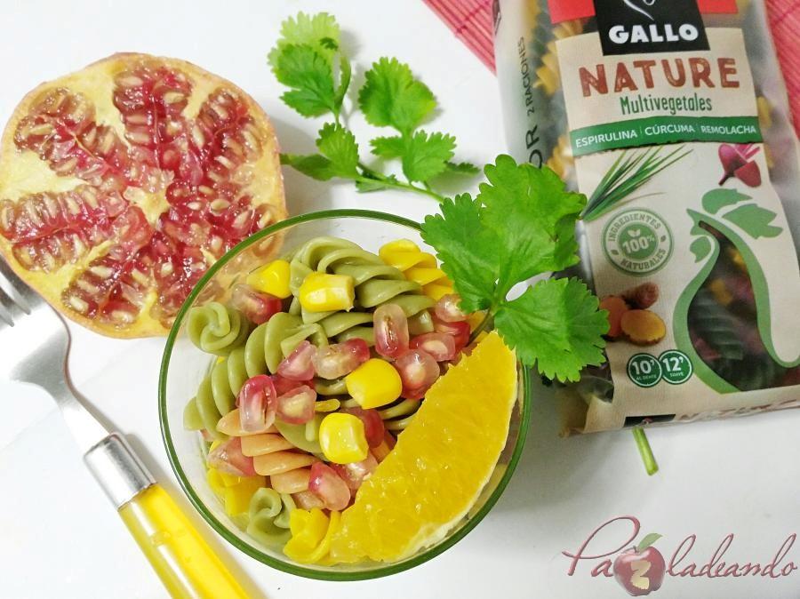 Ensalada antioxidante de pasta multi vegetales con fruta PaZladeando (8)