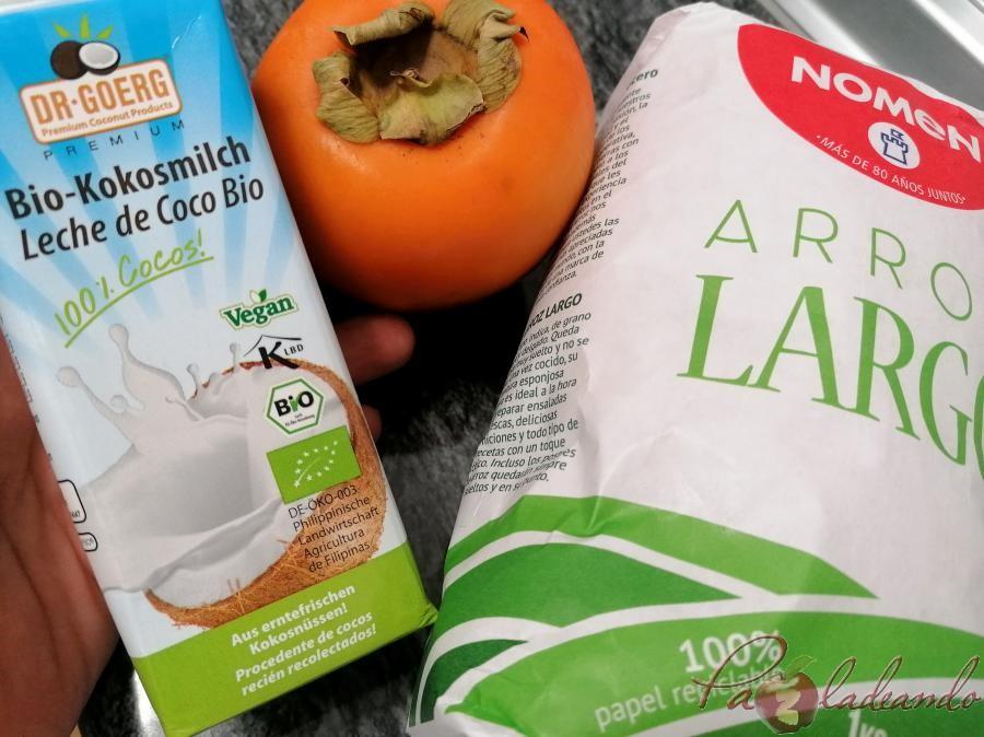 Arroz con leche de coco y fruta ingredientes